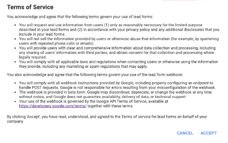 2Terms of Service to be accepted to use Lead form extension