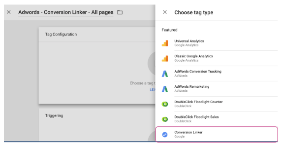Adwords Conversion Linker step1