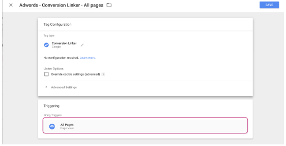 Adwords Conversion Linker step2