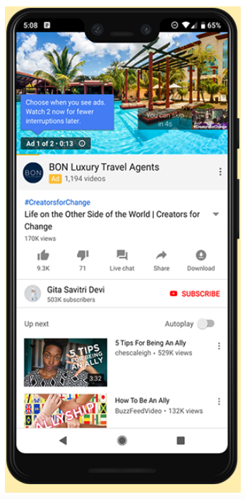 Example of ad pod on Youtube mobile