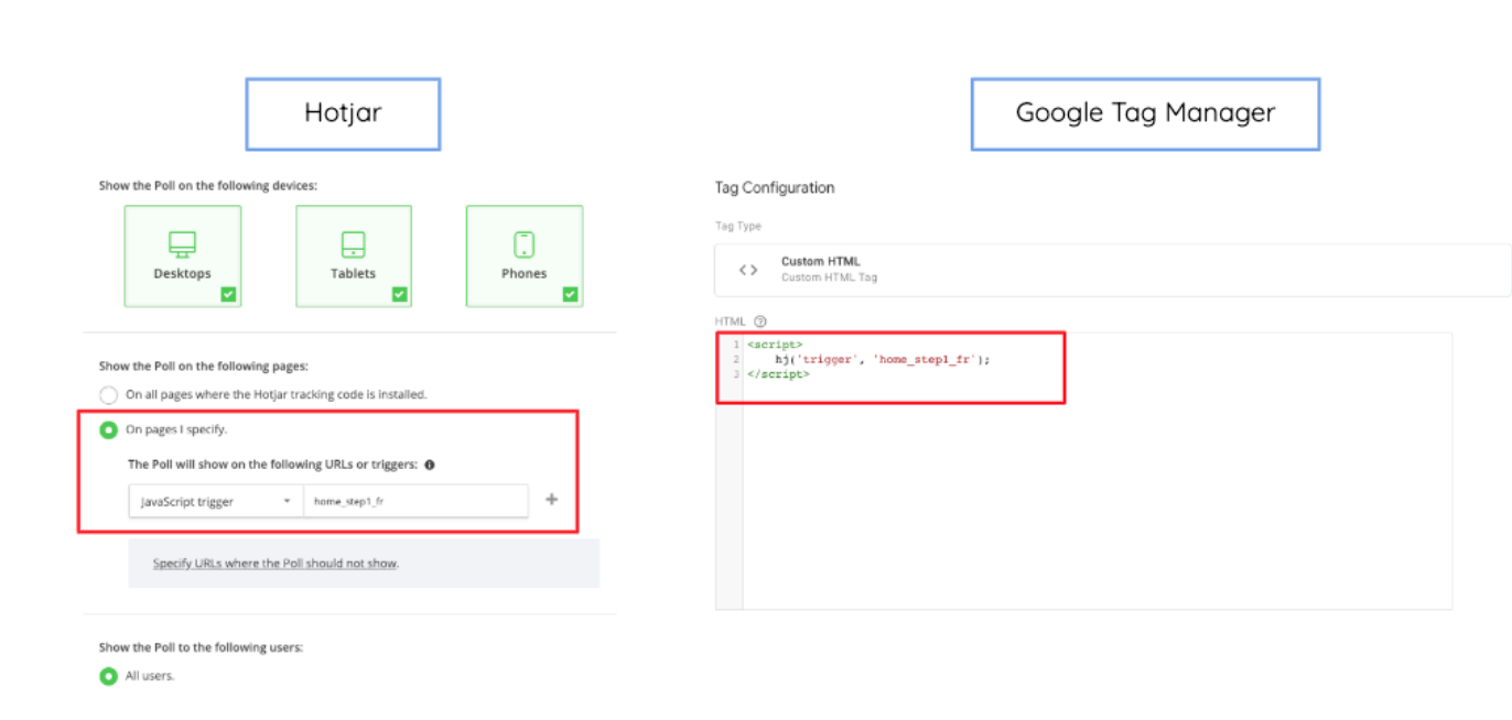 Link between the tag in Google Tag Manager and the poll in Hotjar 2