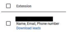 Where to find Download leads option in the Ad extensions table in Google Adspng