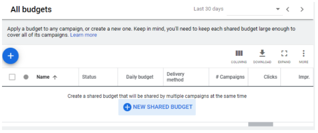 create a shared budget in google ads