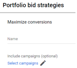 select the campaigns to be included in your portfolio bid strategy